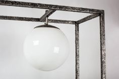 View this item and discover similar for sale at - Metal shelf with Brutalist textured frame and glass shelves. Integrated glass orb lamp with cord running inside the frame. Unique shelving unit to display Metal Shelving, Mid Century Modern Lamps, Unique Shelves, Furniture Storage, Brutalist, Glass Shelves, Mid-century Modern, Sculptures, Display