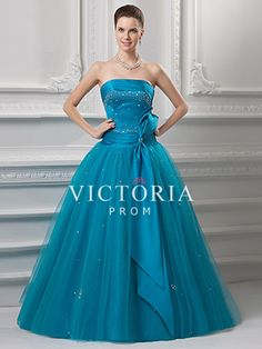 Formal Blue Ball Gowns Long Tulle Satin Strapless Corset Prom Dress - US$ 147.59 - Style P1157 - Victoria Prom
