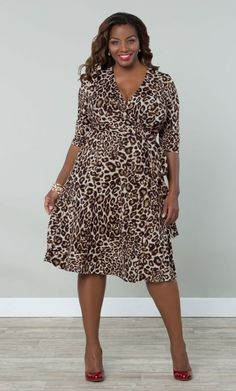 Shop www.curvaliciousclothes.com TAKE 15% OFF EVERYTHING! Use code: TAKE15 at checkout Essential Wrap Dress - Leopard Print