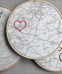 Traditional Second Wedding Anniversary Gift Customized Vintage Map Framed In A Wooden Hoop With Embroidered Cotton Heart By House Of Whatnot
