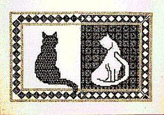 Blackwork Cats Blackwork Kit by X-Calibre Designs