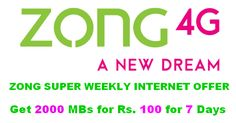 """Zong keeps on giving its profitable clients a superior and cheaper Internet Packages. """"Zong Internet"""" offers the best and least expensive """"Super Weekly Rs 100"""" Internet (for all Pre-Paid clients) Package for 1 Week. You will get many"""