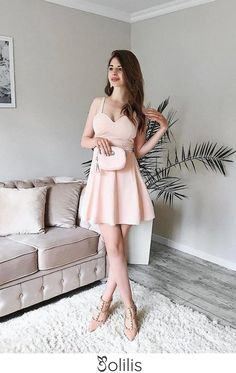 Cute Spaghetti Straps Sweetheart Pink Homecoming Dresses Satin Short Prom Dresses H1168, This dress could be custom made, there are no extra cost to do custom size and color