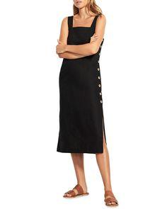 Seafolly Square-Neck Slip Dress w/ Button Details Heidi Klein, Seafolly, Designer Swimwear, Two Piece Swimsuits, Diane Von Furstenberg, Neiman Marcus, Luxury Fashion, Cover Up, Cold Shoulder Dress
