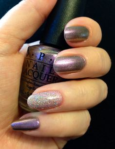 OPI Next Stop..the Bikini Zone, and Pedal Faster Suzi! with Servin' Up Sparkle on top.