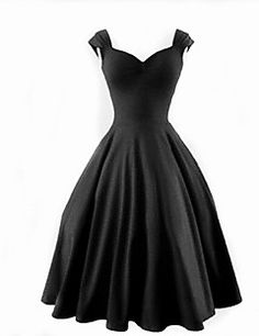 b54ff7fcef6a [$25.99] Women's Plus Size Party Vintage A Line Dress - Solid Colored Black  Sweetheart Neckline Summer Cotton Black Red XXXL XXXXL XXXXXL
