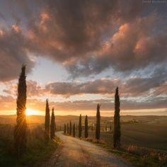 Beautiful sunset. Tuscany Italy