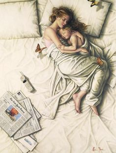 """{""""Sunday Morning"""" ~ Lauri Blank} Cosleeping, mother and child snuggling, butterflies, newspapers, creased sheets. Schools In Nyc, Art Du Monde, Gustav Klimt, Mother And Baby, Mother Art, Mothers Love, Mother Daughters, Happy Mothers, Sunday Morning"""