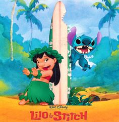 """My Favorite Disney movie is Lilo and Stitch. It teaches us that family is precious and irreplaceable. Stitch is what """"stitches"""" Lilo and Nani back together, (along with some friends) creating a whole new family. Disney Love, Walt Disney, Disney Stuff, Disney Pixar, Lilo And Stitch 2002, Hawaiian Art, Image 3d, Luau Party, Luau Theme"""