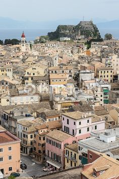 Corfu city with the Old Fortress on the background as seen from the New Fortress