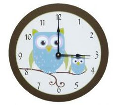 This adorable wall clock has been hand-made to coordinate with owl themed nurseries and bedrooms. The design and colors are exclusive to Baby SuperMall. The clock is 12 inches in diameter and runs on a single AA battery (battery not included). The clock is hand-made in the USA.