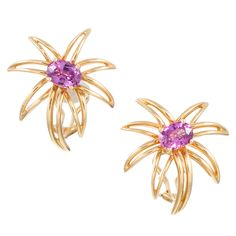 Tiffany & Co. Pink Sapphire Sunburst Earrings | From a unique collection of vintage more earrings at http://www.1stdibs.com/jewelry/earrings/more-earrings/