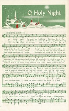 "Tonight at my church we sang one of my all time favorite Christmas songs, ""O Holy Night"". Sheet Music Crafts, Clarinet Sheet Music, Sheet Music Book, Vintage Sheet Music, Piano Music, Piano Sheet, Christmas Carols Songs, Christmas Songs Lyrics, Christmas Sheet Music"