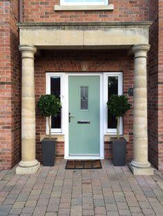 New composite front door in chartwell green. Front Door Porch, House Front Door, House Doors, Green Front Doors, Front Door Colors, Composite Front Door, External Doors, Outdoor Spaces, Outdoor Decor