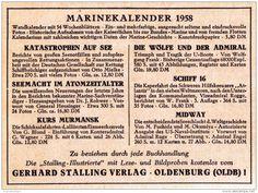 Original-Werbung/ Anzeige 1957 - MARINEKALENDER / GERHARD STALLING VERLAG OLDENBURG - ca. 110 x 75 mm