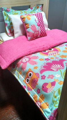 """American Girl Bedding - Owls and Flowers Print 5 Piece Bedding Set for 18"""" Dolls American Girl Bedding"""