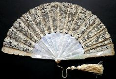 Pearly roses fan, c. 1880