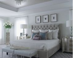 Gray Headboard, light walls, detailed accents