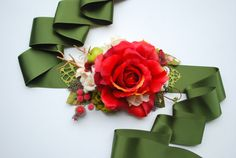 Red with dark green bridal sash, winter wedding, woodland wedding, bridal headpiece