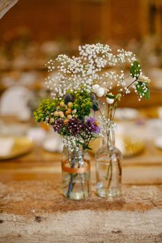Wild Flowers in Bottles Wedding Decor - Gin Inspired Wedding With Rustic Wildflower Decor At Pimhill Barn With Bride in Rue De Seine And Images From Leah Lombardi