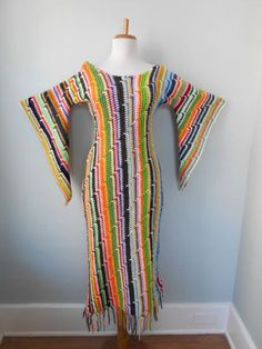 Vintage 1960s 1970s Hand Knit RAINBOW Crochet Angel Bell Sleeve HIPPIE MiDi Maxi Afghan Dress W Fringe Hem! by trash5thave on Etsy