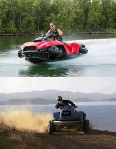 The Quadski is a four wheeler that transforms into a super fast jetski! - - The Quadski is a four wheeler that transforms into a super fast jetski! Half four-wheeler, half jet-ski, awesome and I& pretty sure I need this! Jet Ski, Hors Route, Four Wheelers, Catamaran, Cars And Motorcycles, Offroad, Cool Cars, Dream Cars, Skiing