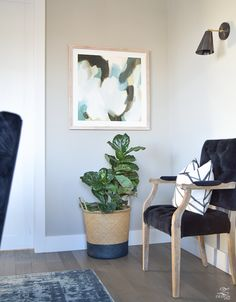 minted art lush composition by melanie severin vintage inspired navy blue rug black tufted dining chairs mindful gray paint kelley wearstler channels pillow-1