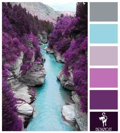 Fairy Pool (wish this was a real place!): Grey, Blue, Tiffany, Lilac, Purple - Colour Inspiration Board