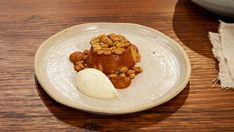 Pumpkin Cake with Creme Fraiche and Pine Nut Caramel