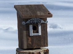 Birdhouse Handcrafted Rustic Cedar by 3FeatheredFriends on Etsy