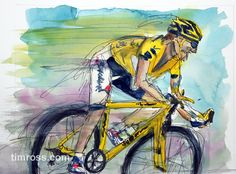 "A watercolor painting by Tim Ross.  ""Tour de Chance""   www.timross.com"