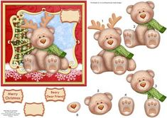 """BEARY DEAR FRIEND Christmas Card Topper Decoupage on Craftsuprint designed by Janet Briggs - Christmas card topper with 3d step by step decoupage, for a 6x6"""" card.Features cute bear, with reindeer antlers.One blank sentiment tag."""