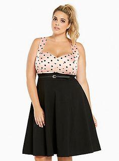 Plus Size Polka Dot Swing Dress, COME ON DOTTY