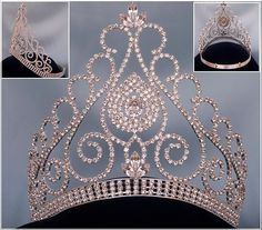 Beauty Queen Rhinestone Grand Queen Contoured Rhinestone Crown Tiara
