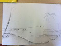 Ik ben vooral trots op de stenen links onderin. Ik ben bezig geweest met de vorm van de walvis, de zee en het strand en de palmboom. De volgende les wil ik de palmboom en de zee af krijgen en mij gaan focussen op het arceren.