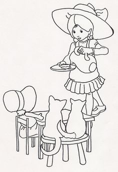 Girl w Saucer of Milk for Cats w Dolly by jeninemd, via Flickr