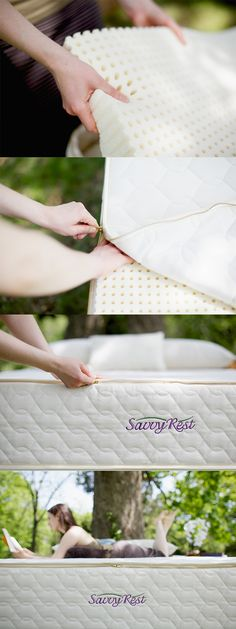 Our Serenity organic mattresses contain three layers of natural latex. Assembly is a breeze, and the sleep is down-right heavenly :-)