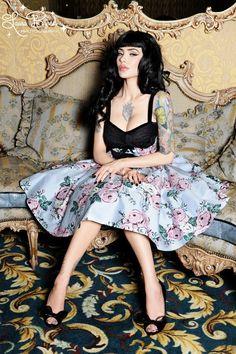 Courtesan Swing Dress in Victorian Rose Print