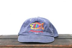 Vintage 90's Maui Hawaii Tropical Island Vacation Fish Strapback Hat Baseball Cap