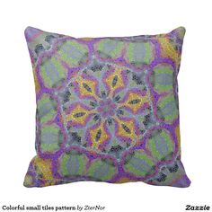 Colorful small tiles pattern throw pillows