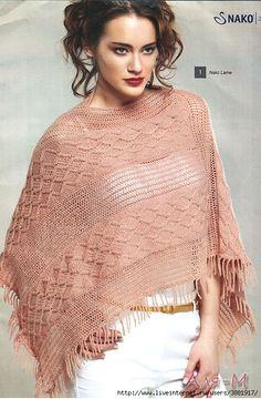 Oi amigas(os)!   Vejam que lindo esse poncho xale em trico:     GRAFICO     Espero que gostem!   Bjos   Veraxangai