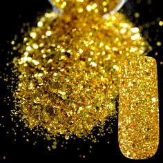 Dazzling Makeup Glitter Gold Nail Art Mix Size Glitter DIY Manicure 3D Dust Powder Pure Gold Sequins Nail Salon Products 257