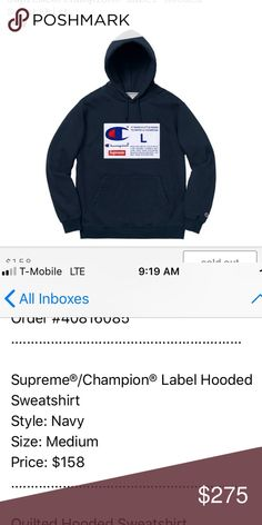 14e41fdc5 Supreme x Champion big chest champ tag logo (navy) Brand new still in  dustbag never worn. Authentic 100% or money back. NWT FW18 Hoodie (navy)  Supreme ...