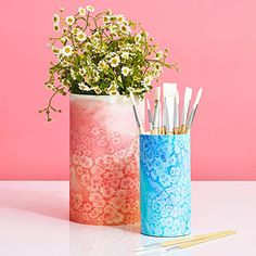 Salt-Water Paintings: This ingenious technique blends watercolors and salt for a beautiful, ethereal effect. Use the finished paper to wrap a containers, gifts, and more.