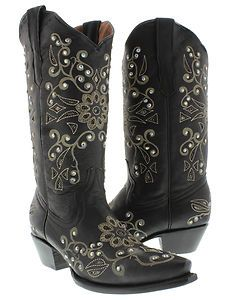 Womens cowboy boots ladies leather rhinestone crystal rodeo dance sexy fancy hot