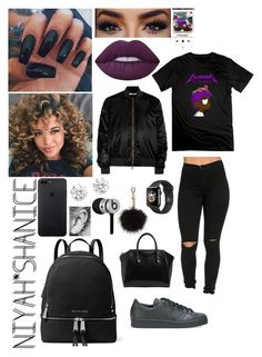 """""""LiL UzI VeRt💜"""" by adavies1115 on Polyvore featuring UZI, Lime Crime, Givenchy, Kenneth Jay Lane, Beats by Dr. Dre, Sofiacashmere, MICHAEL Michael Kors and adidas Originals"""