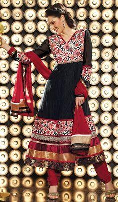 $87.27 Black Embroidery Anarkali Style Salwar Kameez 25007