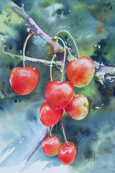 how to watercolor cherries