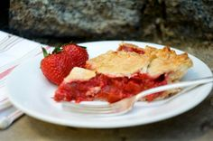 Strawberry Rhubarb Pie Slice (Side View) | Nothing in the House