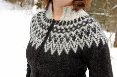 Rib is worked in Álafoss Lopi but body and sleeves are worked in Létt-Lopi. Body and sleeves are worked in the round from lower edge to underarms, then joined to work